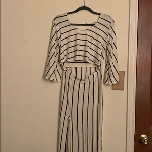 Striped flounce maxi dress